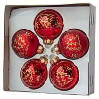 Набор елочных шаров с декором 6*5шт (3 гл., 2 мат.), стекло, красный елка (390304-3), фото 1