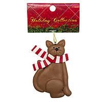 Сувенирная Украшение из пластика коричневый кот, 9см (001378-4)