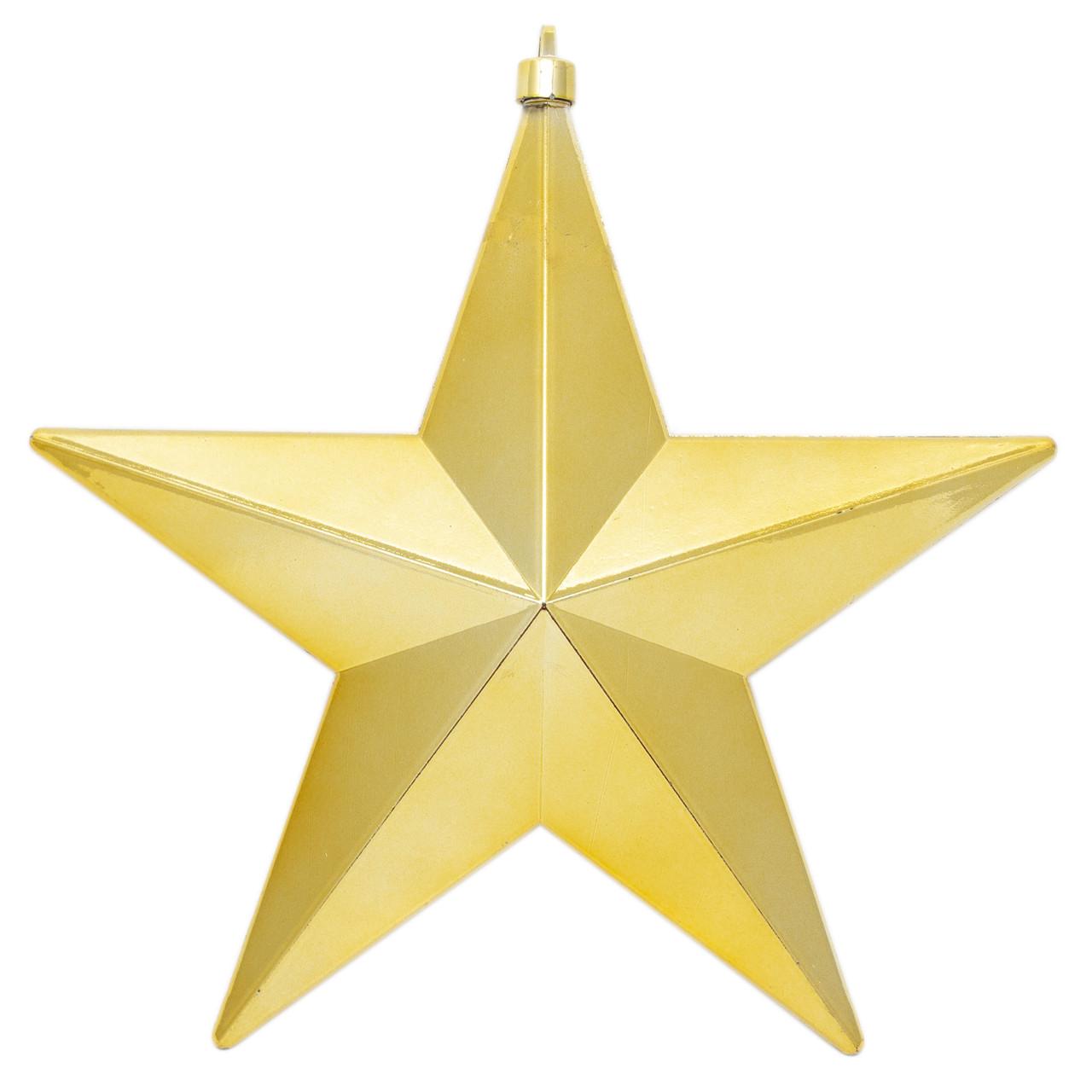 Большая елочная игрушка - звезда, 30 см, пластик, золотистый (030910-2)