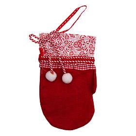 Елочная игрушка мягкая - Рукавичка красная, 16 см, красный, текстиль (430345-1)