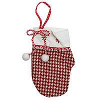 Бело-красные тканевые украшения, рукавичка в клеточку, 16 см (430345-2)