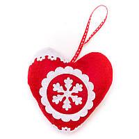 Бело-красное тканевое украшение, сердце, 12см (430710-2)