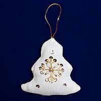 Елочное украшение из ткани с бисером, 8 см, елка (430086-4)