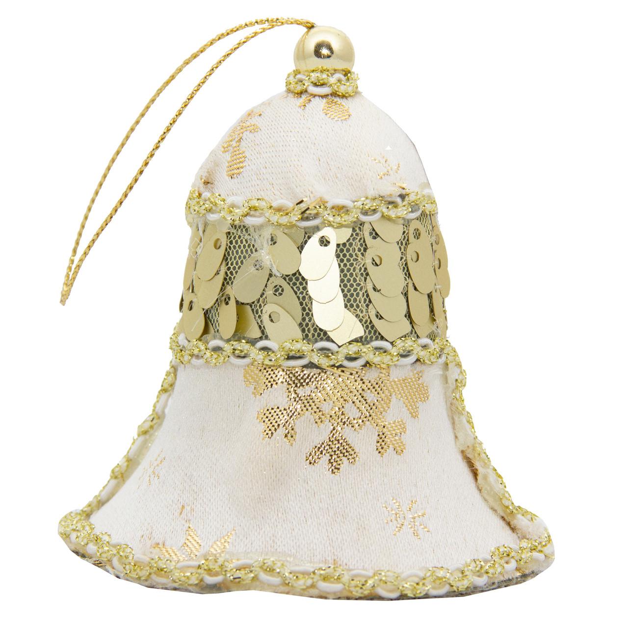 Елочное украшение из ткани с блестками, 10 см, колокольчик (430208-1)