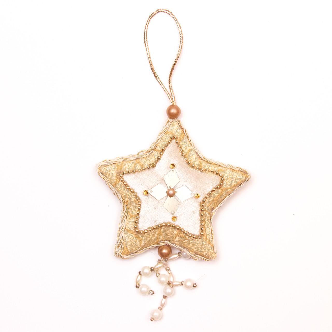 Елочное украшение из ткани, 10 см, звезда (430130-2)