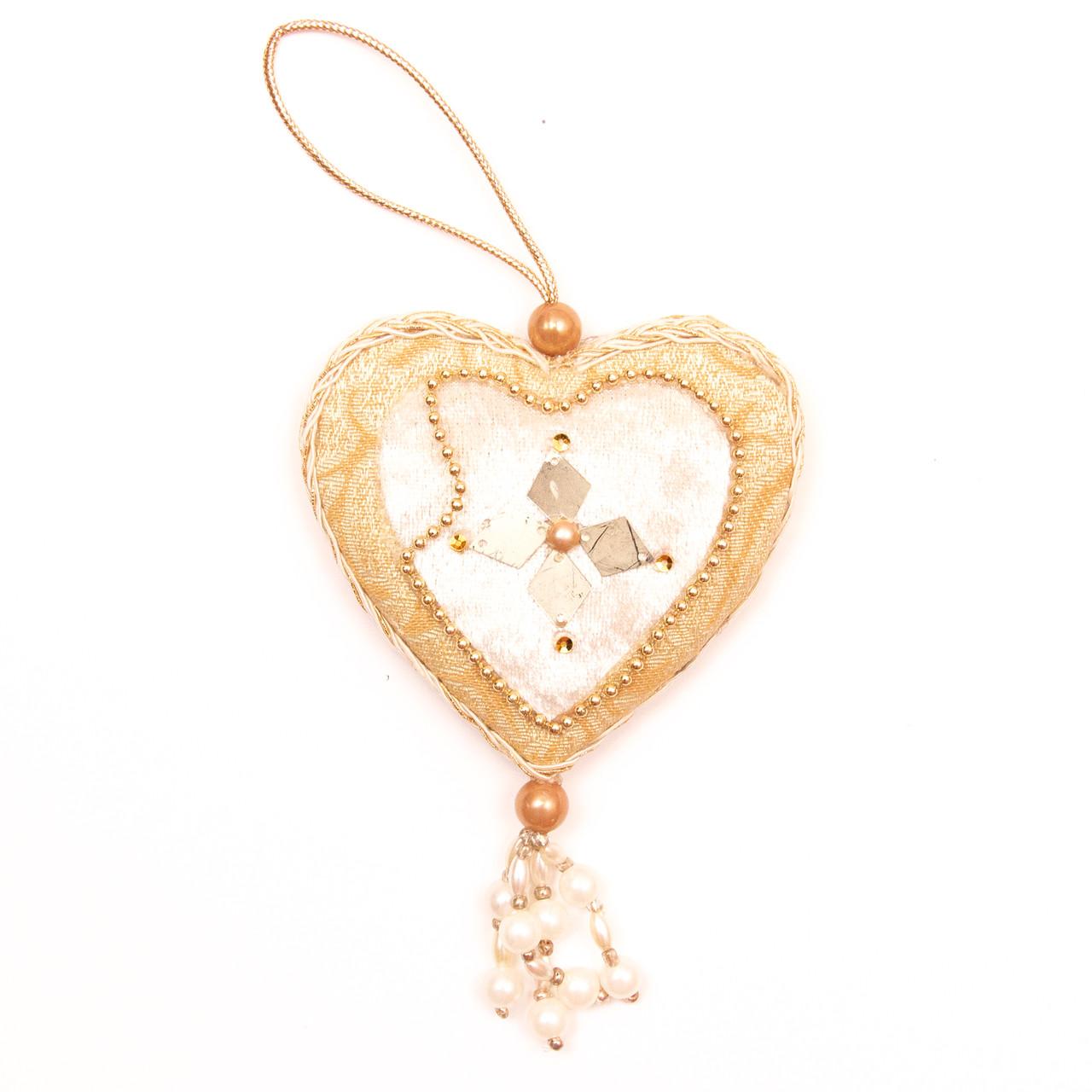 Елочное украшение из ткани, 10 см, сердце (430130-4)