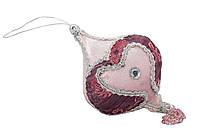 Елочное украшение из ткани вышитые бисером, 10 см, юла (430239-3)