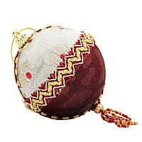 Елочное украшение из ткани вышитые бисером, 10 см, шар (430246-4)