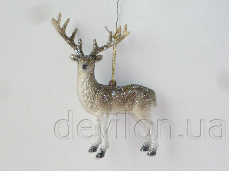 Новогодняя елочная игрушка - фигурка Олень, 14,8 см, белый, коричневый, пластик (190224)