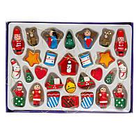 Набор елочных игрушек - деревянные фигурки, 28 шт, 21*15 см, разноцветный, дерево (060122)