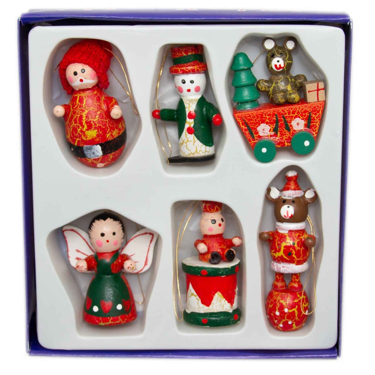 Набір ялинкових іграшок - дерев'яні фігурки, 6 шт, 14*14 см, різнокольоровий, дерево (060153)