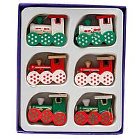 Набор новогодних игрушек на елку - деревянные паровозики, 6 шт, 11*14 см, разноцветный, дерево (060290)