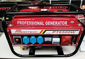 Генератор бензиновий трифазний 4.5 Кв Powertech PT6500W без стартера