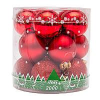 Набор елочных шаров 3*15шт. в тубе, стекло, красный (390014-3)