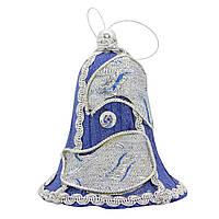 Елочное украшение из ткани вышитые бисером, 10 см, колокольчик (430277-1)
