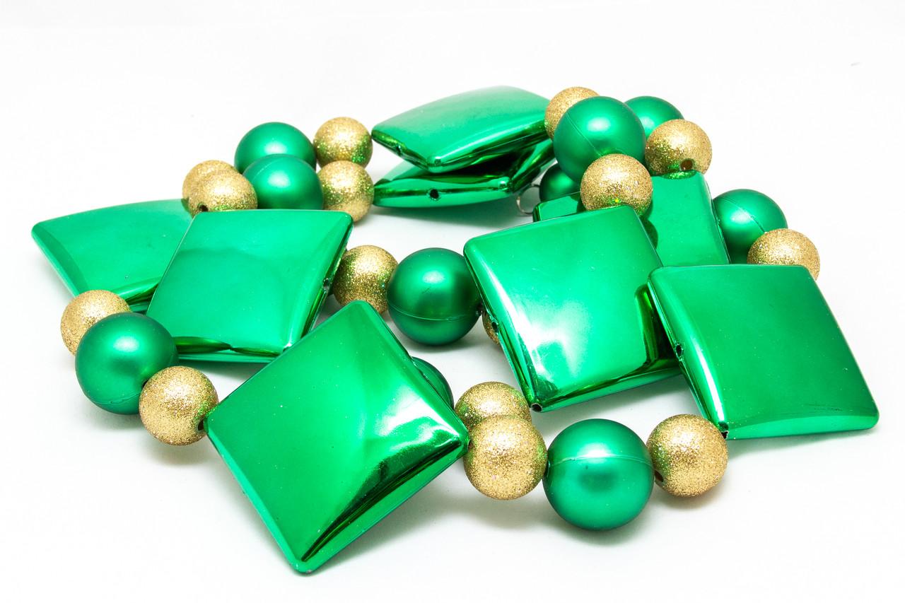 Гирлянда из шаров и прямоугольников, пластик, золото-зеленый (110087-2)