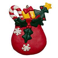 Фигурка сувенирная из полистоуна, h-8 см, мешок с подарками, (000654-6)