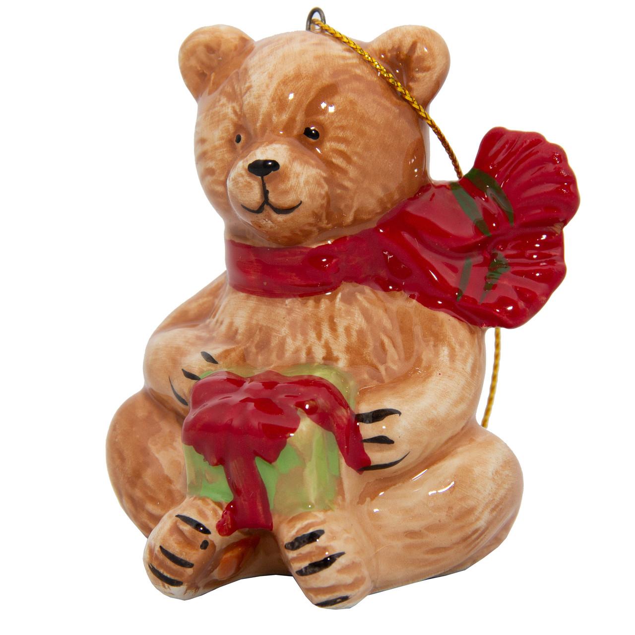 Сувенирная фигурка из керамики, h-7,5 см, медведь, (000432-5)