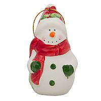 Сувенирная фигурка из керамики, h-7,5 см, Снеговик с красным шарфом, (000432-9)