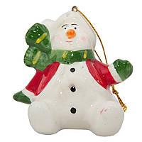 Сувенирная фигурка из керамики, h-7,5 см, Снеговик с зеленим шарфом, (000432-10)