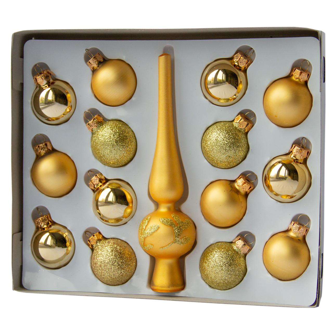 Набор елочных игрушек 15шт., золото (390748-2)