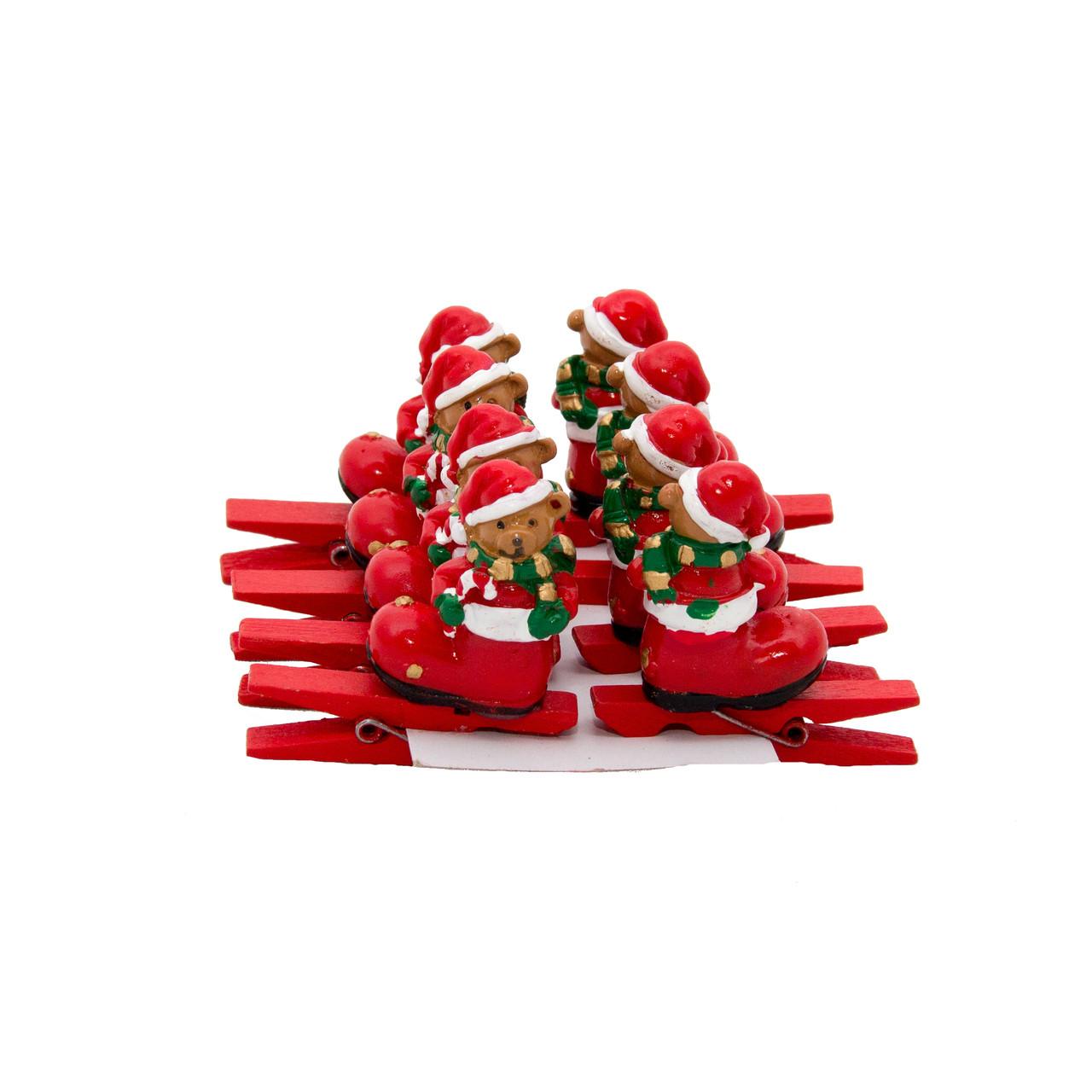 Набір ялинкових іграшок - дерев'яні прищіпки Ведмідь, 8 шт, 9*9 см, червоний, дерево (060610-9)