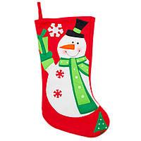 Новогодний сувенир -темно красный носок из полиэстера с рождественским дизайном Снеговик, 48 см (000852-2)