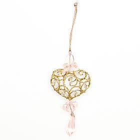 Елочная игрушка с вплетенным бисером - Сердце, 10 см, золотистый, металл, бисер (430116-3)