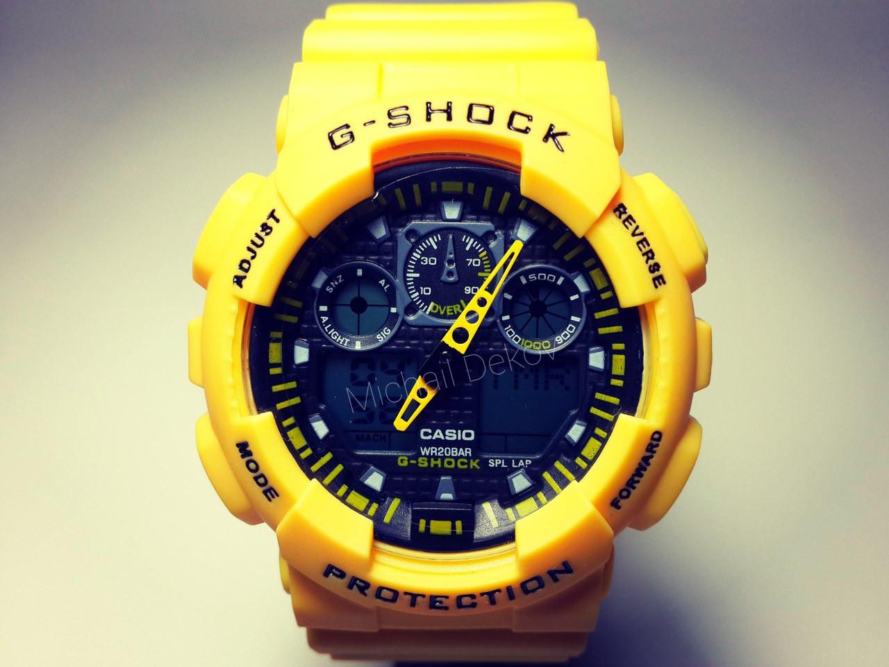 ЧАСЫ CASIO G-SHOCK GA-100   yellow -реплика