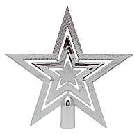 """Елочное украшение Верхушка для елки """"Звезда"""", 20см, глянец, серебро (030934-1)"""