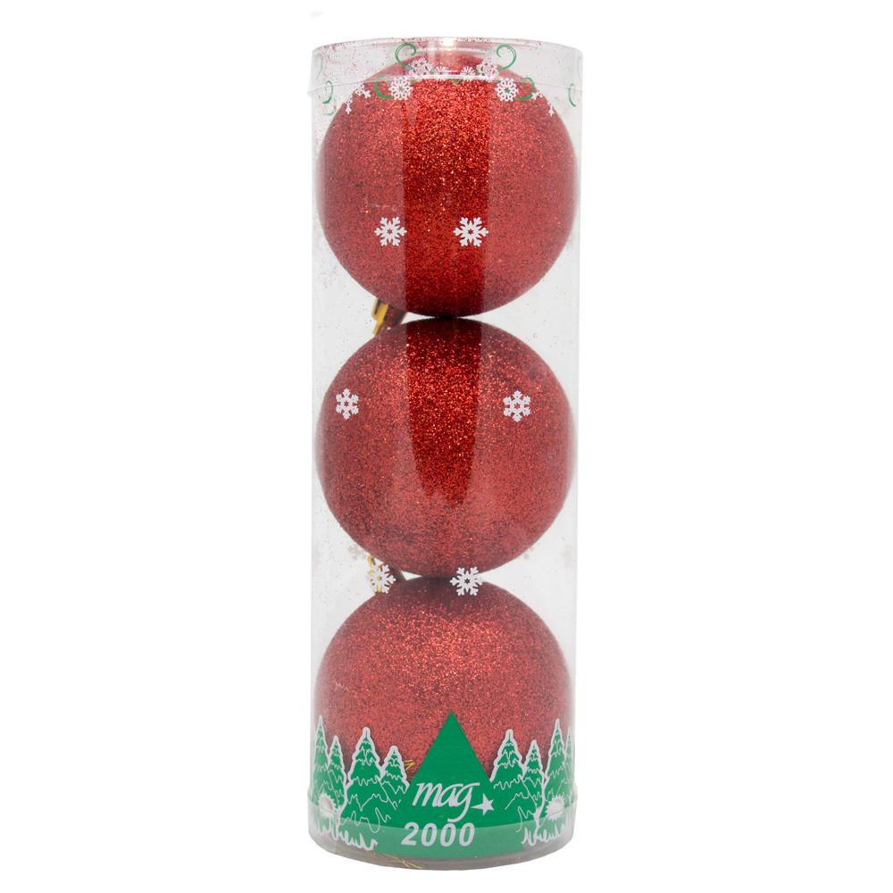 Набор елочных шаров в тубе 80*3 шт.,пластик, красный (030675-3)