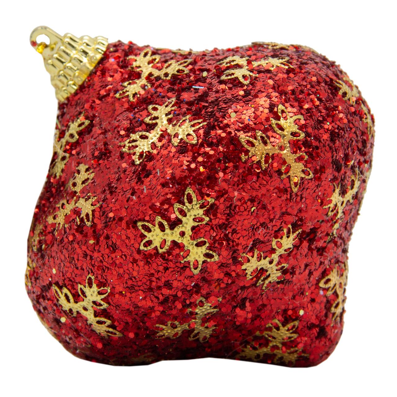 Елочное украшение в форме луковицы, красный, золото (661480-4)