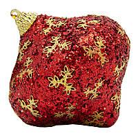 Елочное украшение в форме луковицы, красный, золото (661480-4), фото 1