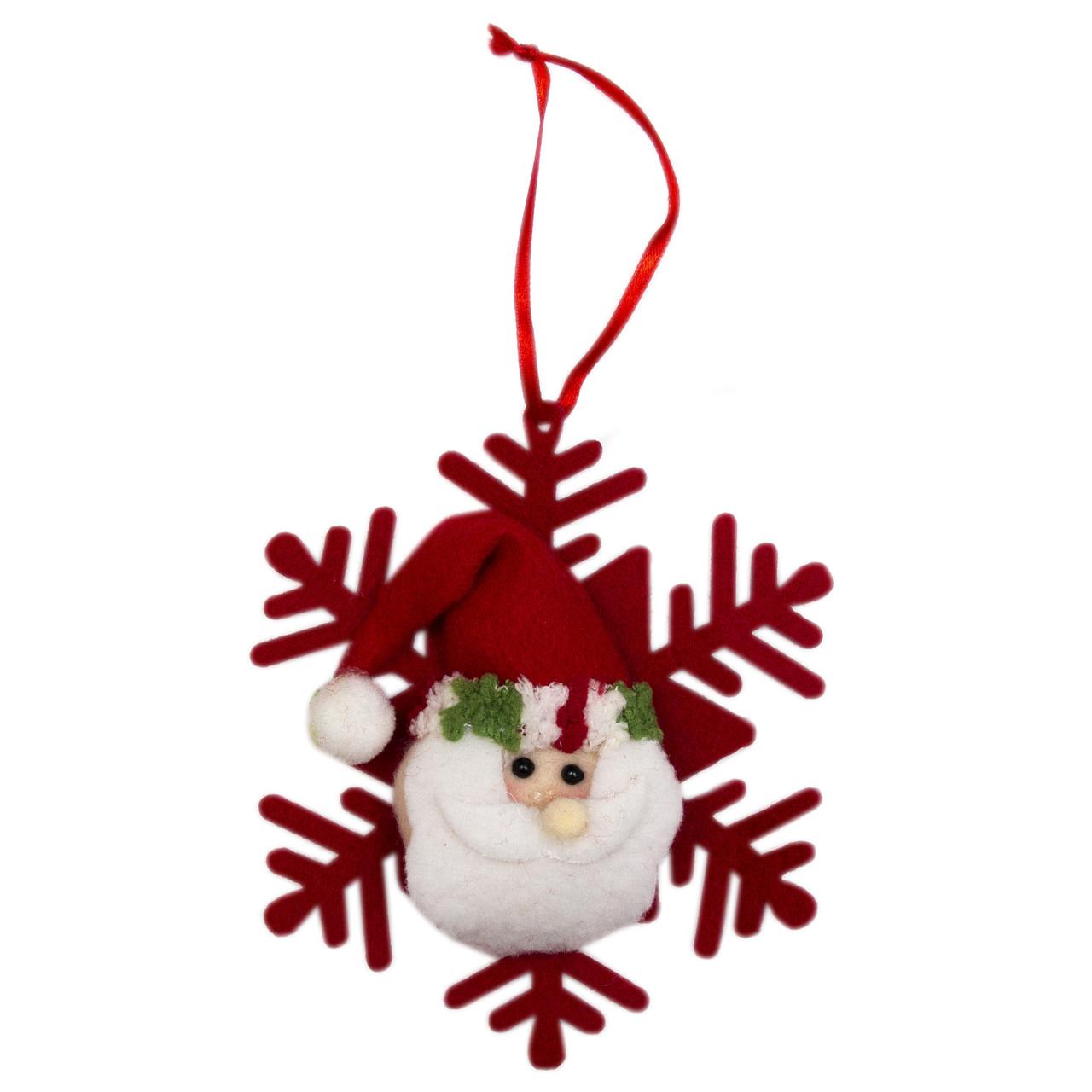 Елочное украшение из ткани, Снежинки - Дед Мороз (430451-1)