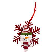 Елочное украшение из ткани, Снежинки - Снеговик (430451-2)
