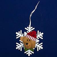 Елочное украшение из ткани, Снежинки - Медведь (430451-3)