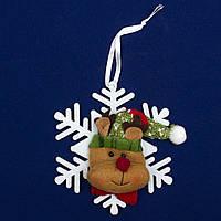 Елочное украшение из ткани, Снежинки - Олень (430451-4)