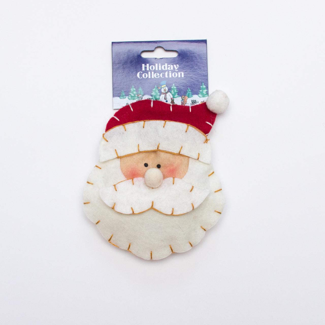 Фигурка сувенирная из полиэстера на подвеске, 11см, лицо Деда Мороза, (000739-3)