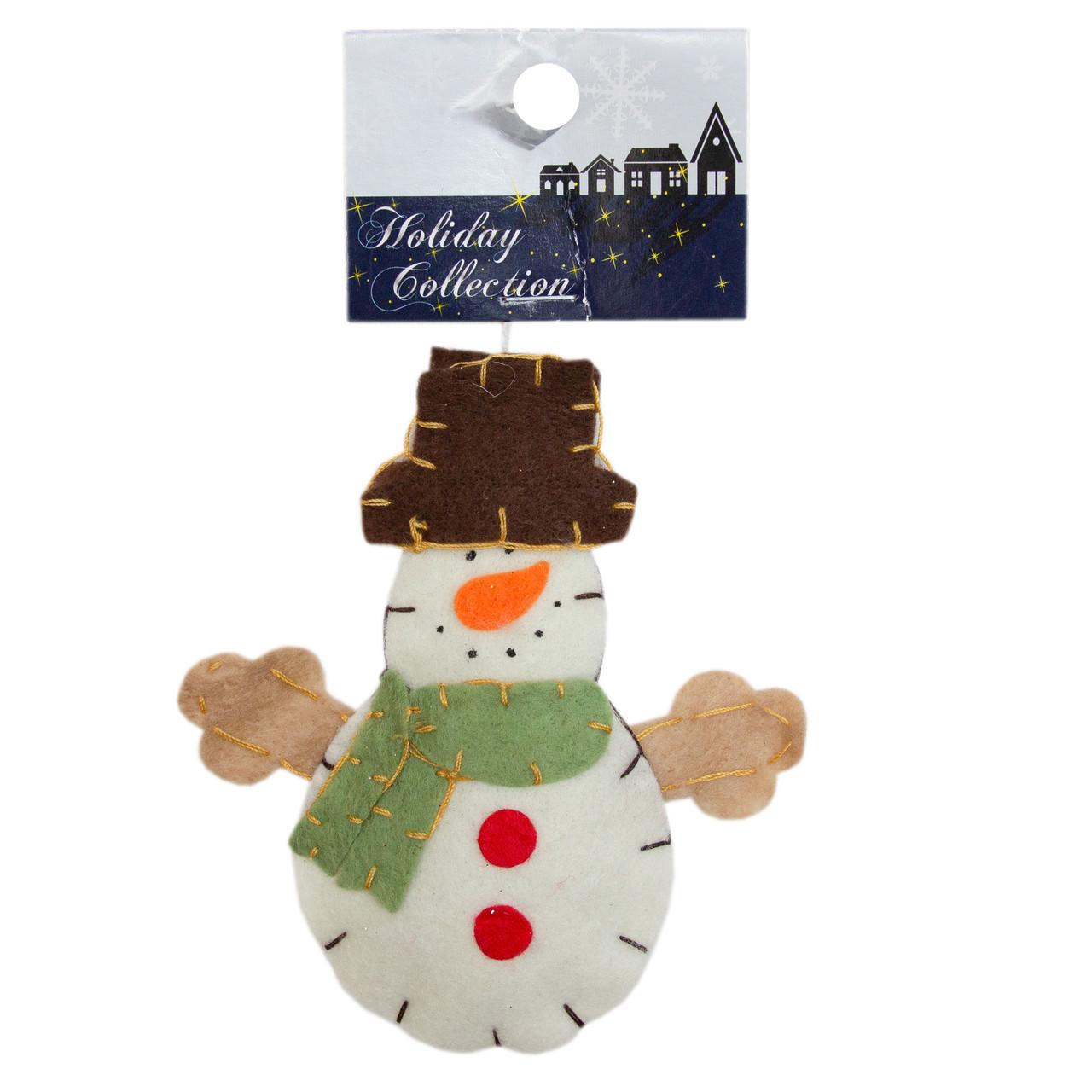 Фигурка сувенирная с войлока, 10 см, Снеговик с зеленим шарфом, (000166-2)