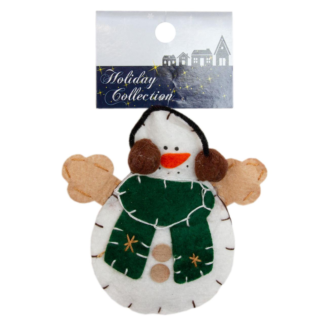 Фигурка сувенирная с войлока, 10 см, Снеговик в наушниках, (000166-4)