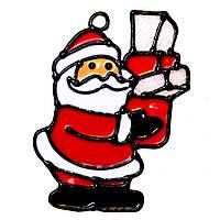 Витраж на окно, Дед Мороз с подарком, 15*15 см (160050-1)