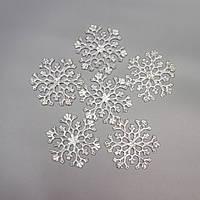 Акриловая снежинка 8,5 см, серебро (200596)