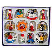 Набор елочных игрушек - деревянные фигурки, 12 шт, 15*12 см, разноцветный, дерево (060061)