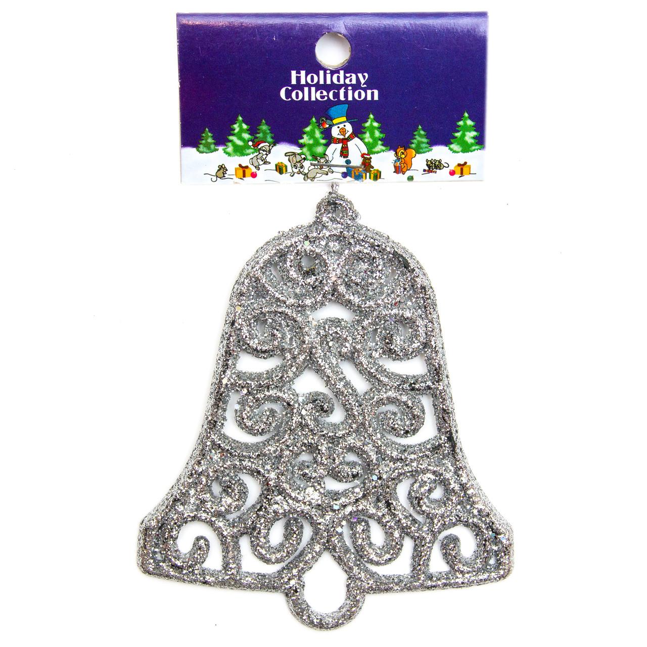 Елочное украшение - серебряный колокольчик, 10см (000678-5)