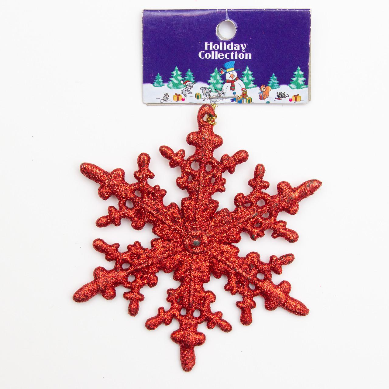 Елочное украшение - красная снежинка, 10см (000678-9)