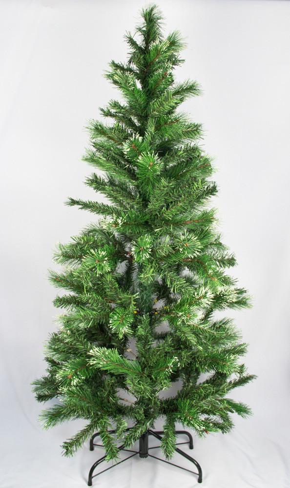 Елка искусственная с заснеженными иголками, 150 см, из 2 частей, пластиковая ножка, ель, зеленый, ПВХ (100088)