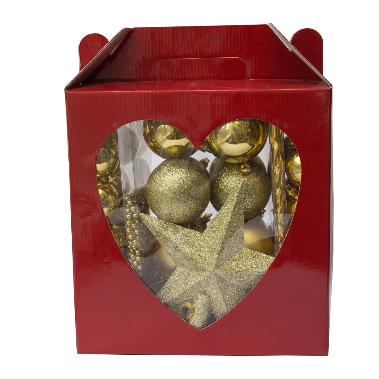 Набор елочных игрушек, 83 шт., золото, пластик (031443-2)
