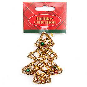 Елочная игрушка из проволоки - Золотая елочка, 7,6 см, золотистый, металл, пластик (000685-1)