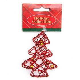 Елочная игрушка из проволоки - Красная елочка, 7,6 см, красный, металл, пластик (000685-4)
