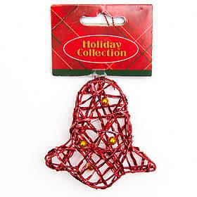 Елочная игрушка из проволоки - Красный колокольчик, 7,6 см, красный, металл, пластик (000685-5)